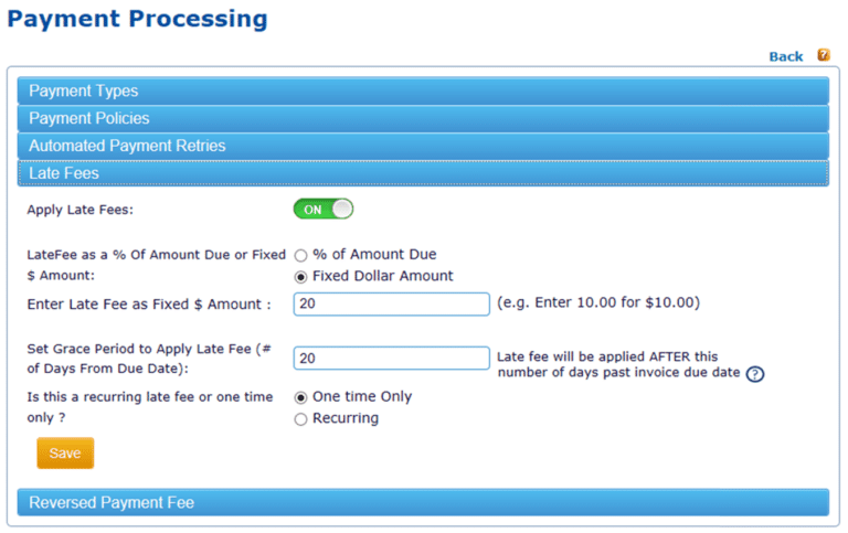 Customizable late fee and grace period configurations