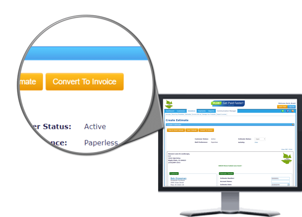 An option to convert your clients bills to invoice