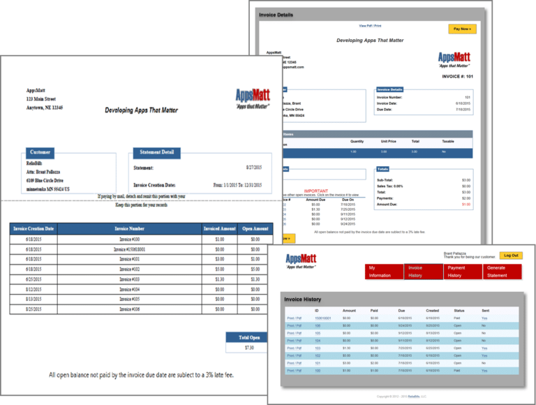 A display of invoice and billing reports of ReliaBills software