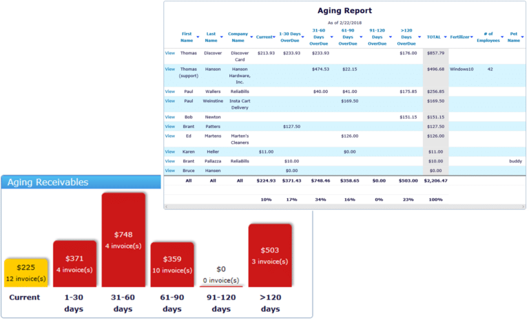Detailed aging and receivables reports from ReliaBills software