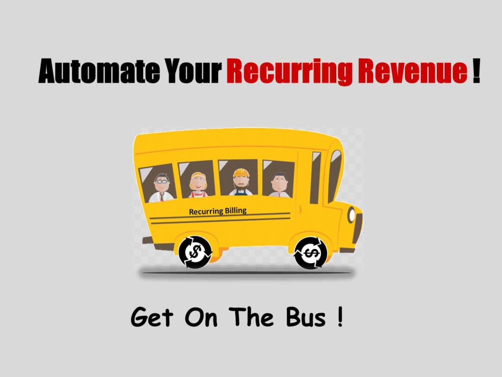 A yellow bus that represents recurring billing software and business owners riding in it represents the user of the software