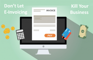A presentation of not letting your business killed by e-invoicing with calculator, credit and debit cards and money as the concept
