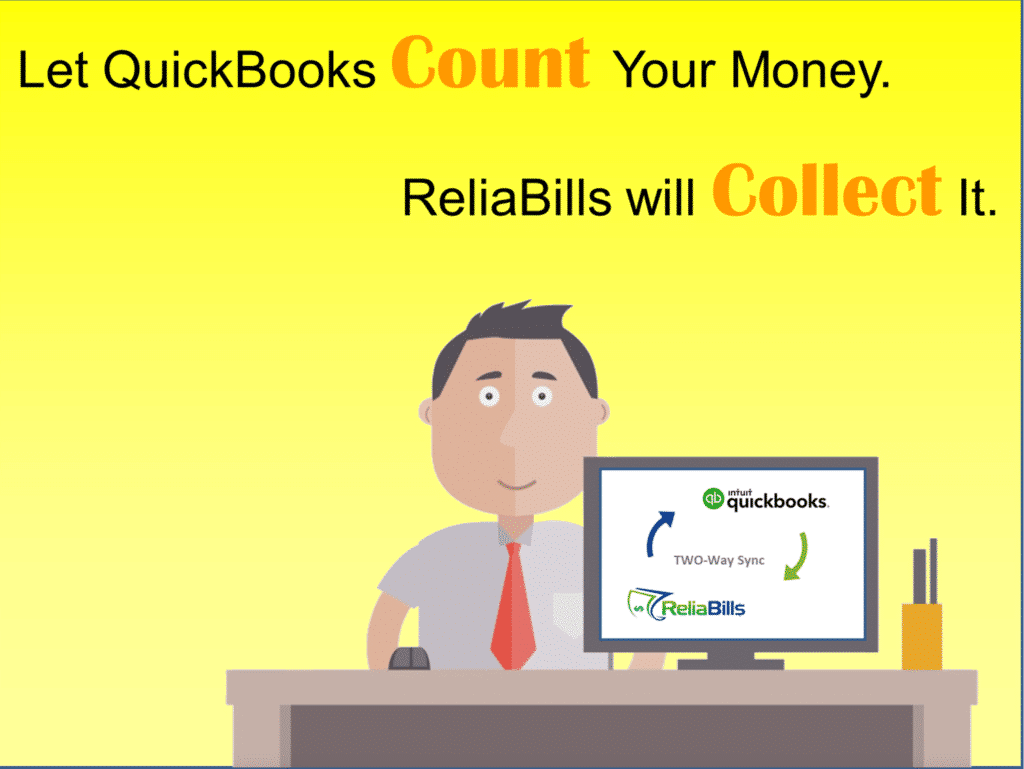 An animated person showing the possibilites of QuickBooks counting your money while ReliaBills collect it