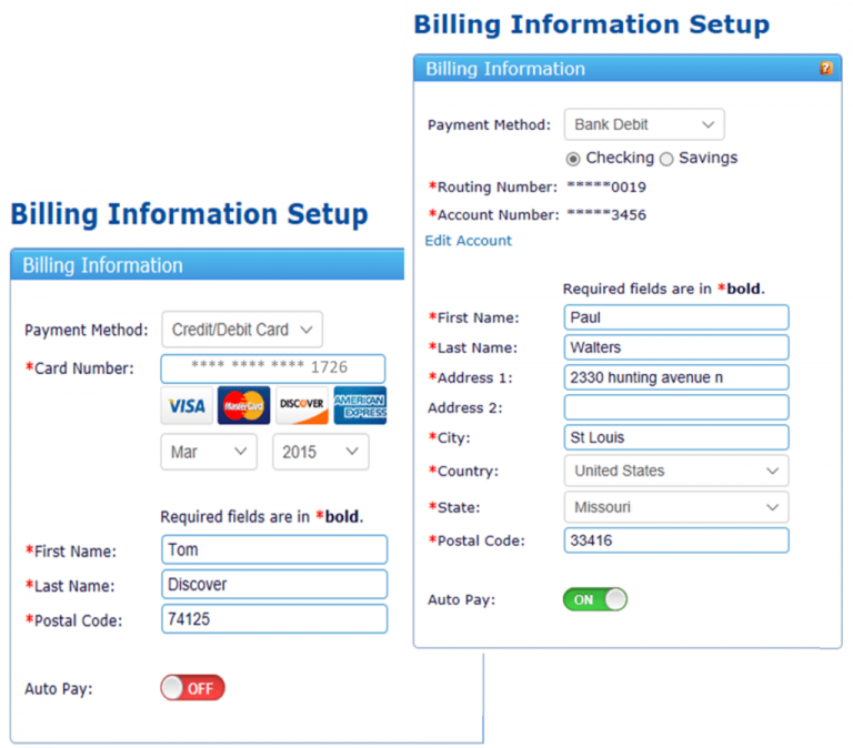 A preview of billing information setup of ReliaBills software