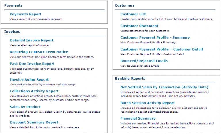 A preview of ReliaBills features such as payment report, invoice report, customers report and banking reports