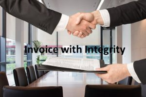 Two hands holding each other in agreement and another hand holding the invoice that represents the polite way to get paid for small business