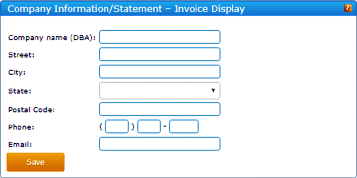 A company information statement popup window
