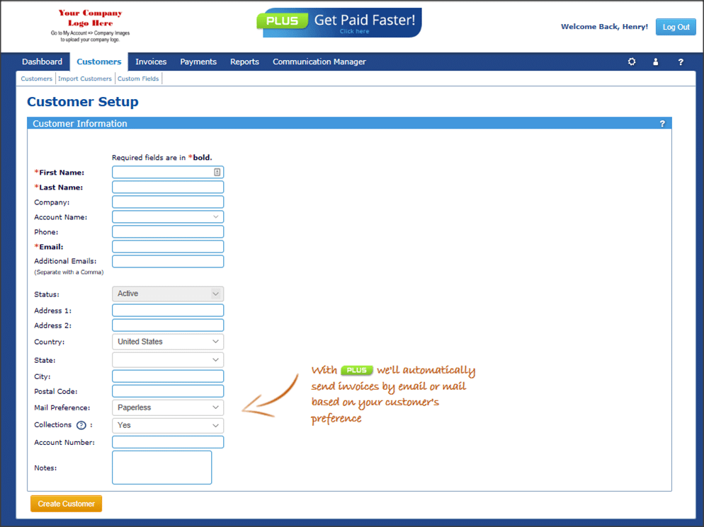 A customer setup page where you can input your customer's information