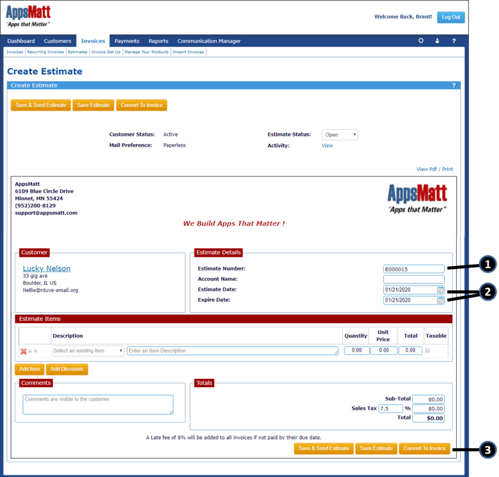 A page where you can create new estimate, customized it and send to your customers