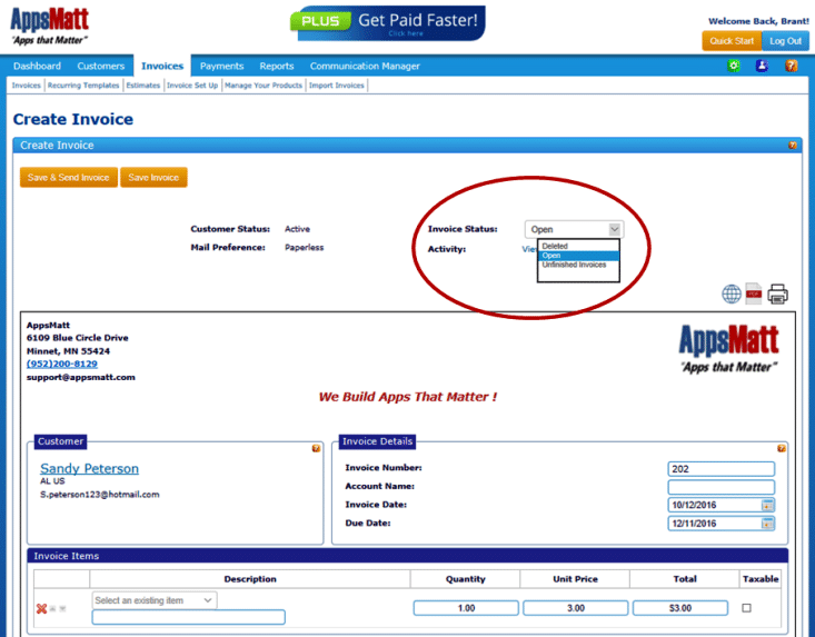 By viewing the invoice you can simply change the status to Deleted in the dropdown and then click save