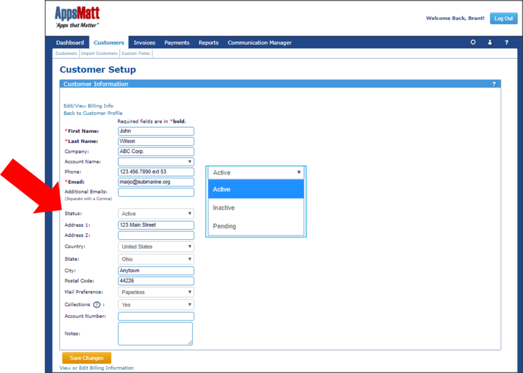 You can delete your customers by using the dropdown in the Customers profile page and change the status to inactive
