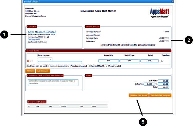 A window where you can see the invoice details of your customers where you can generate by just clicking a button