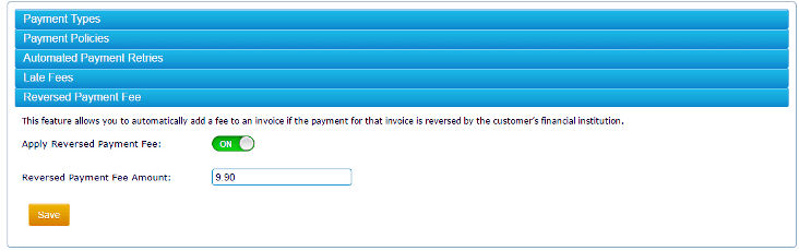 The Reversed Payment Fee feature allows you to add a fee to an invoice if the payment for that invoice is reversed