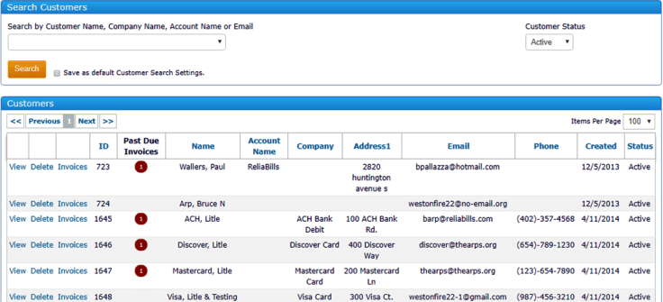 A preview of Search customers dashboard