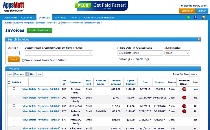 In this dashboard you can search your invoices by using the search box to find your customers