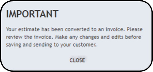 Onscreen message reminding you to review the invoice for any changes