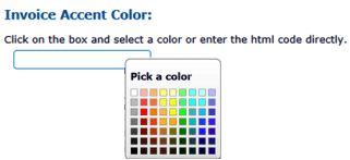 A color pallette where you can choose any color for your invoice color accent