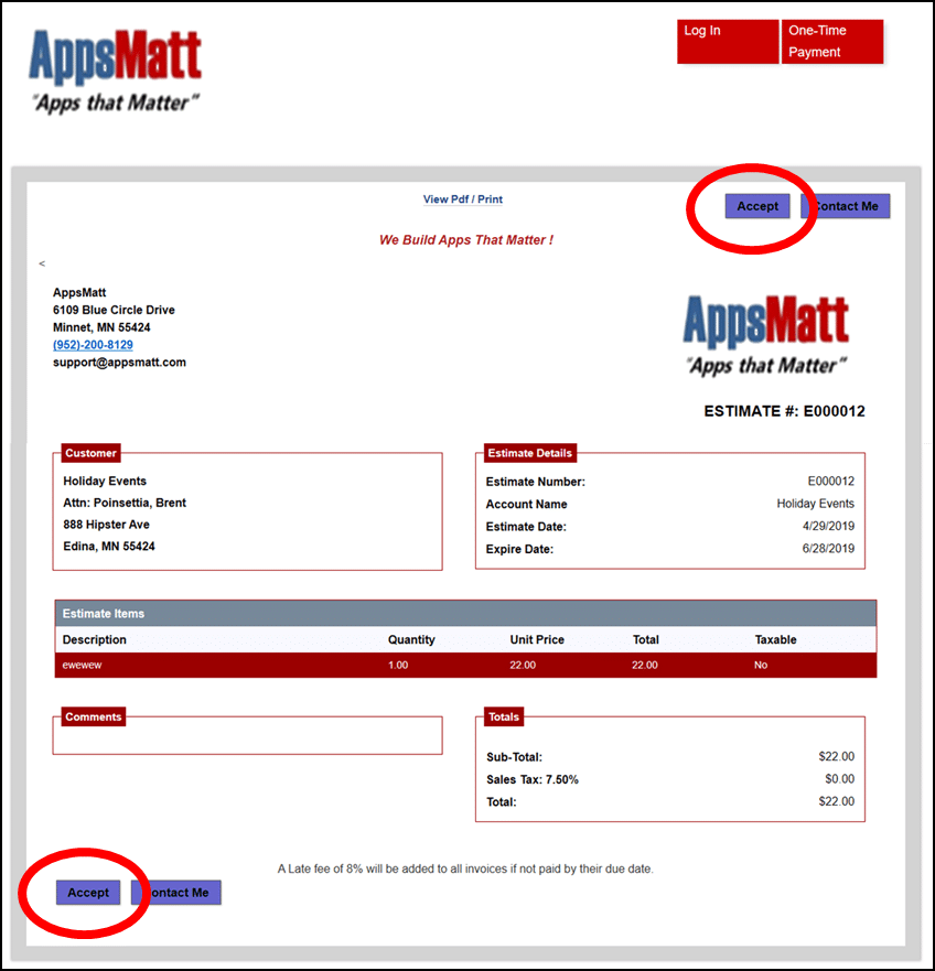 Accept Button is available for customers if they want to accept the estimate