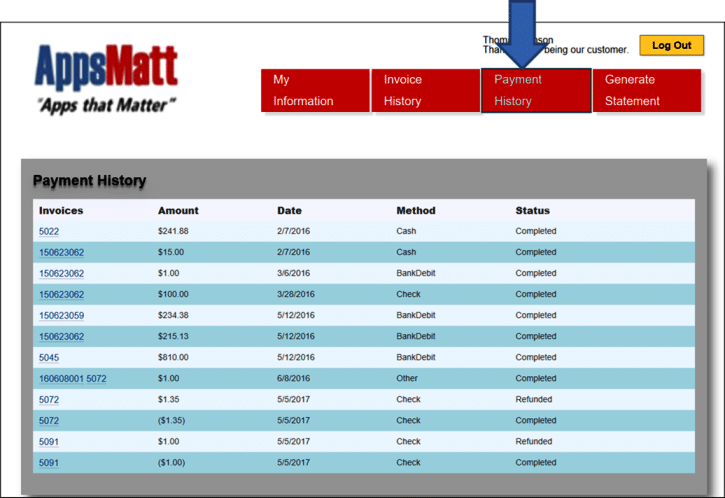 In the Customer portal section, you can view your invoices and payments from previous months in the Payment History tab