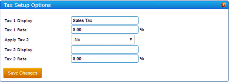 A popup window to set up your tax options