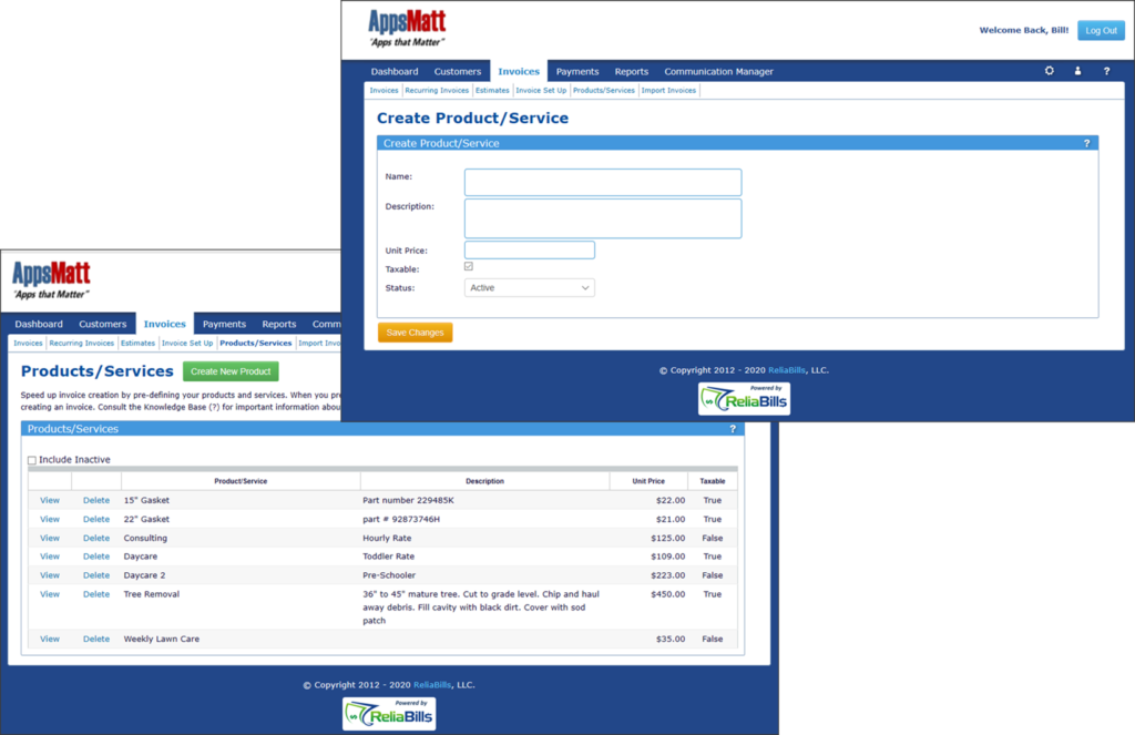 Products and Services Dashboard of ReliaBills
