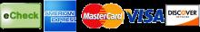 echeck, american express, mastercard, visa, discover network